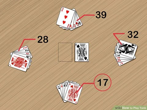 In Tunk, ummelded cards are worth point. Above illustrates the value of each hand.)