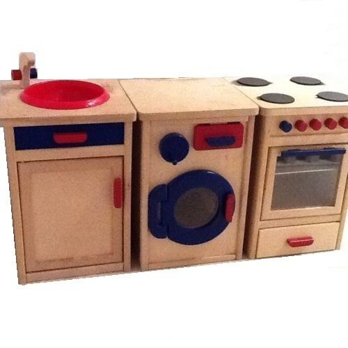 solid wood toy kitchen lowes outdoor kitchens childrens traditional wooden play set oven washing machine sink