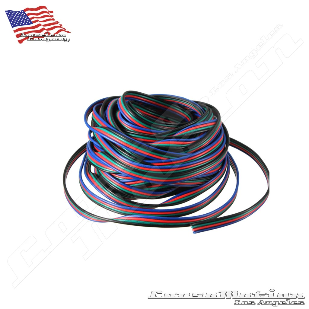 hight resolution of 4pin channels led rgb cable wire 10m for 5050 3528 strip wires corsomotion
