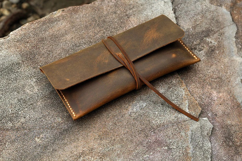 distressed leather pencil pouch