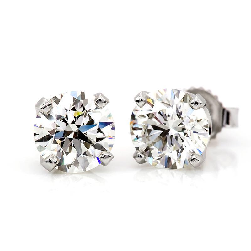1 2 Carat Diamond Stud Earrings In 14k White Gold - I2