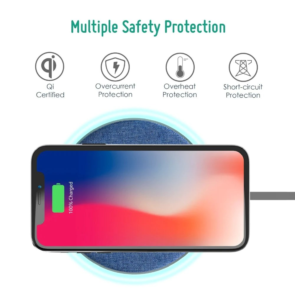 jean fabric qi wireless charger fast charging pad for iphone x 8 samsung [ 1000 x 1000 Pixel ]