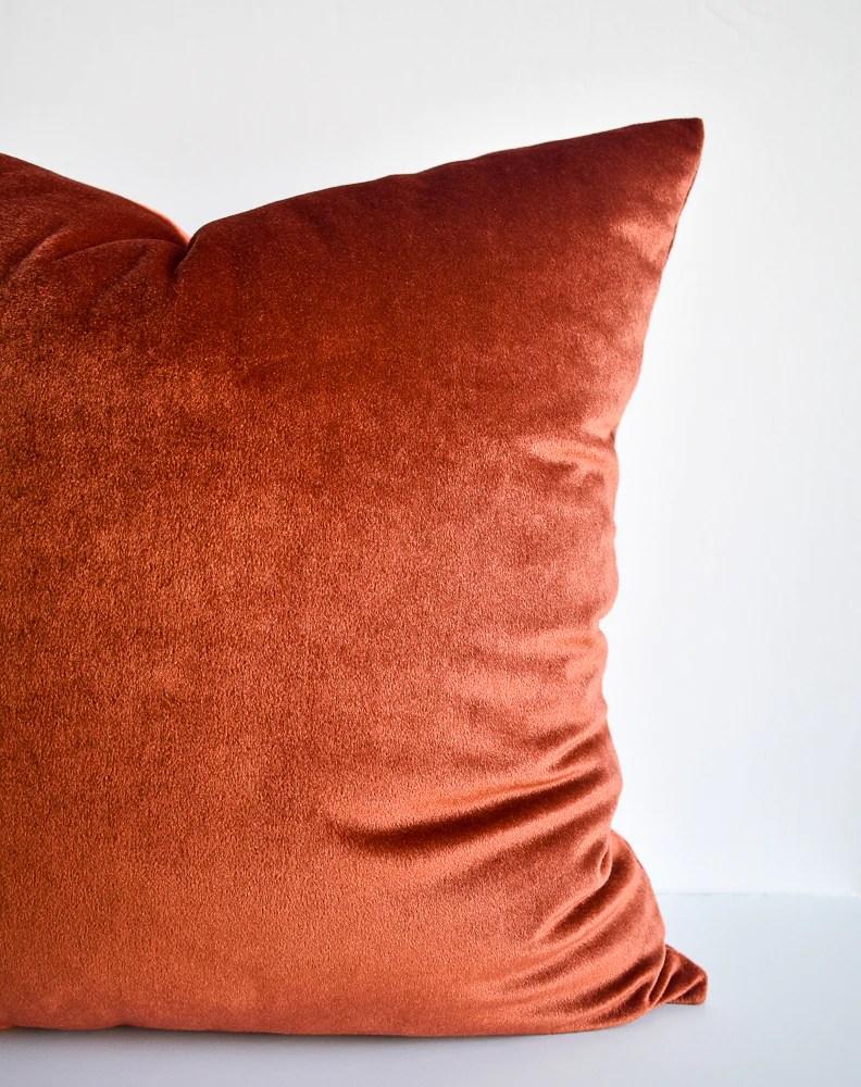 velvet pillow rust