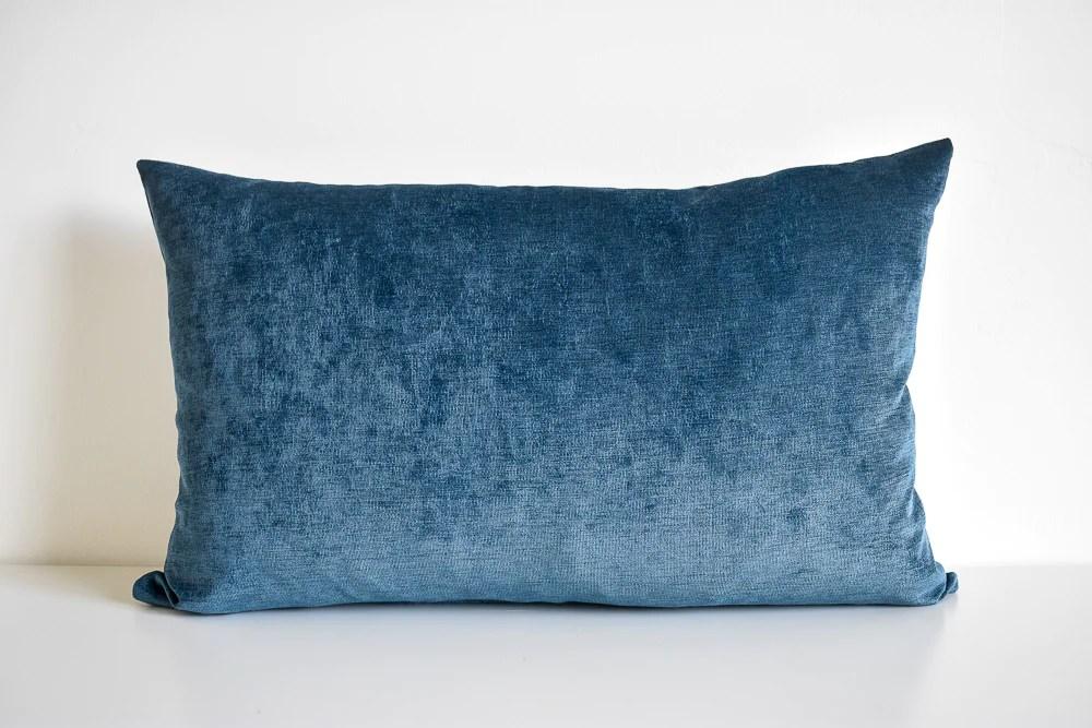 velvet lumbar pillow slate blue