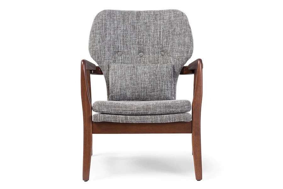 wood frame accent chairs floor gaming rocking chair baxton studio rundell grey upholstered leisure in walnut