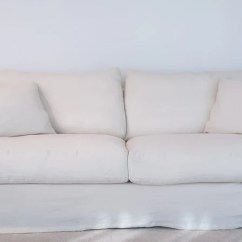 Belgian Linen Sofa Baxter Chester Moon 3 Seater In White