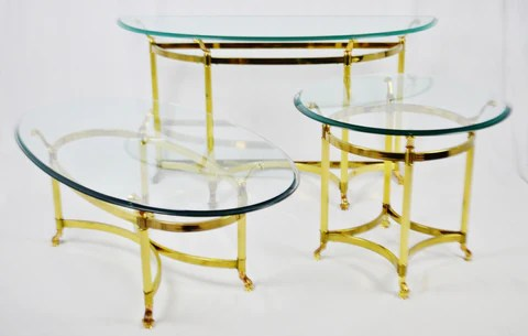 glass living room table tiny set vintage maison jansen style brass tables