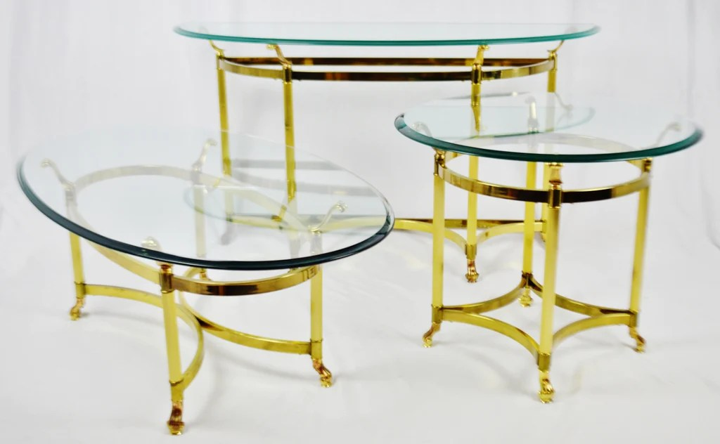 glass living room table ideas for small furniture arrangement vintage maison jansen style brass tables set