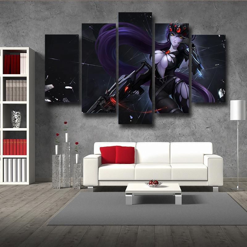 Overwatch Widowmaker Gaming 5pc Wall Art Decor Canvas
