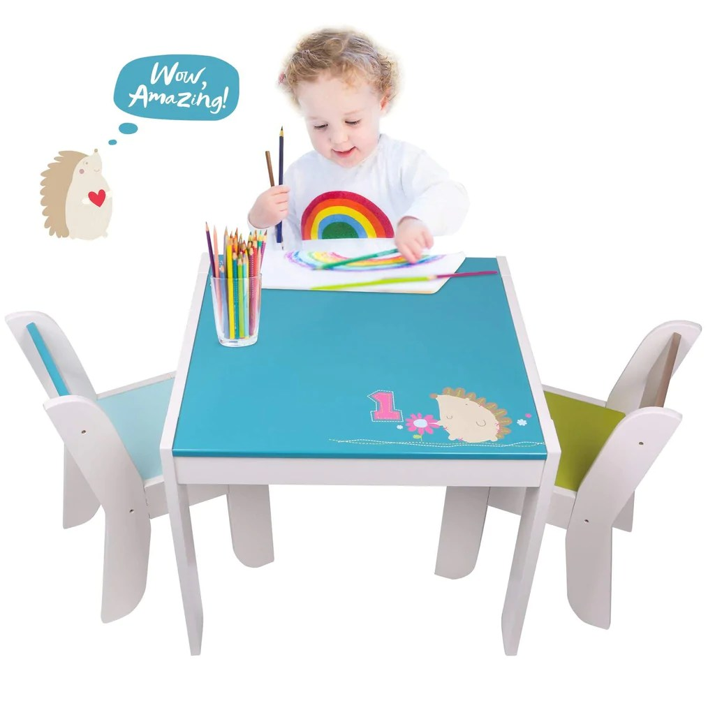 toddler table and chair set covers for hire sheffield wooden activity blue hedgehog 1 5 years
