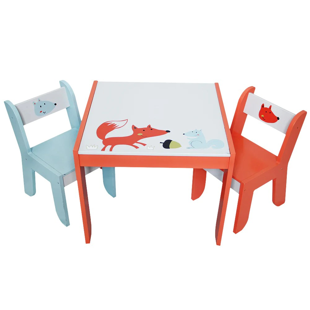 Toddler Wooden Chair Wooden Activity Table Chair Set Fox Printed White Toddler Table For 1 5 Years