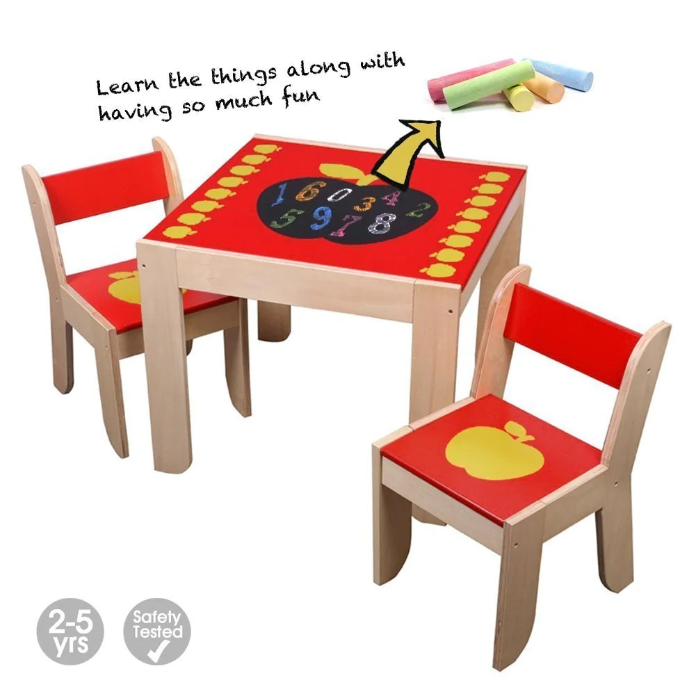 Activity Chair Wooden Activity Table Chair Red Apple Toddler Table With Chalkboard For 1 5 Years