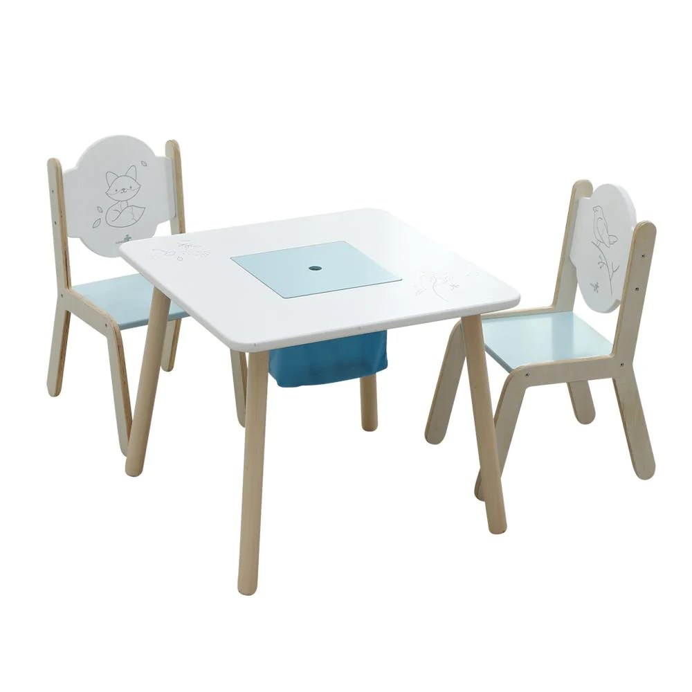 toddler table and chair set student desk wooden activity bird printed white with labebe