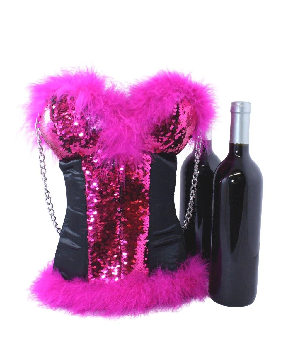 Corset Wine Tote In Hot Pink And Silver Reversible Mermaid