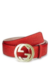 RED GUCCI Monogram Leather Belt, 44/110 - Luxury Locker