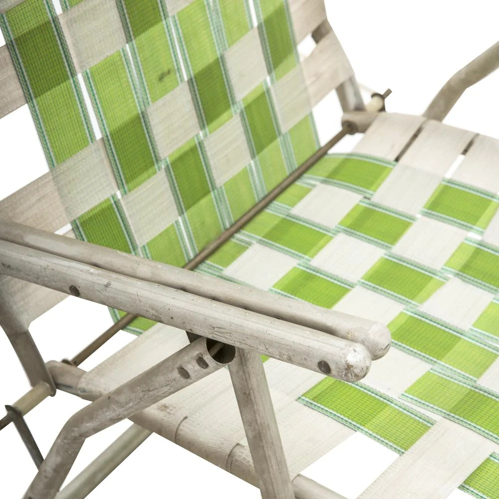 vintage lawn chair fred meyer folding chairs green woven modernica props