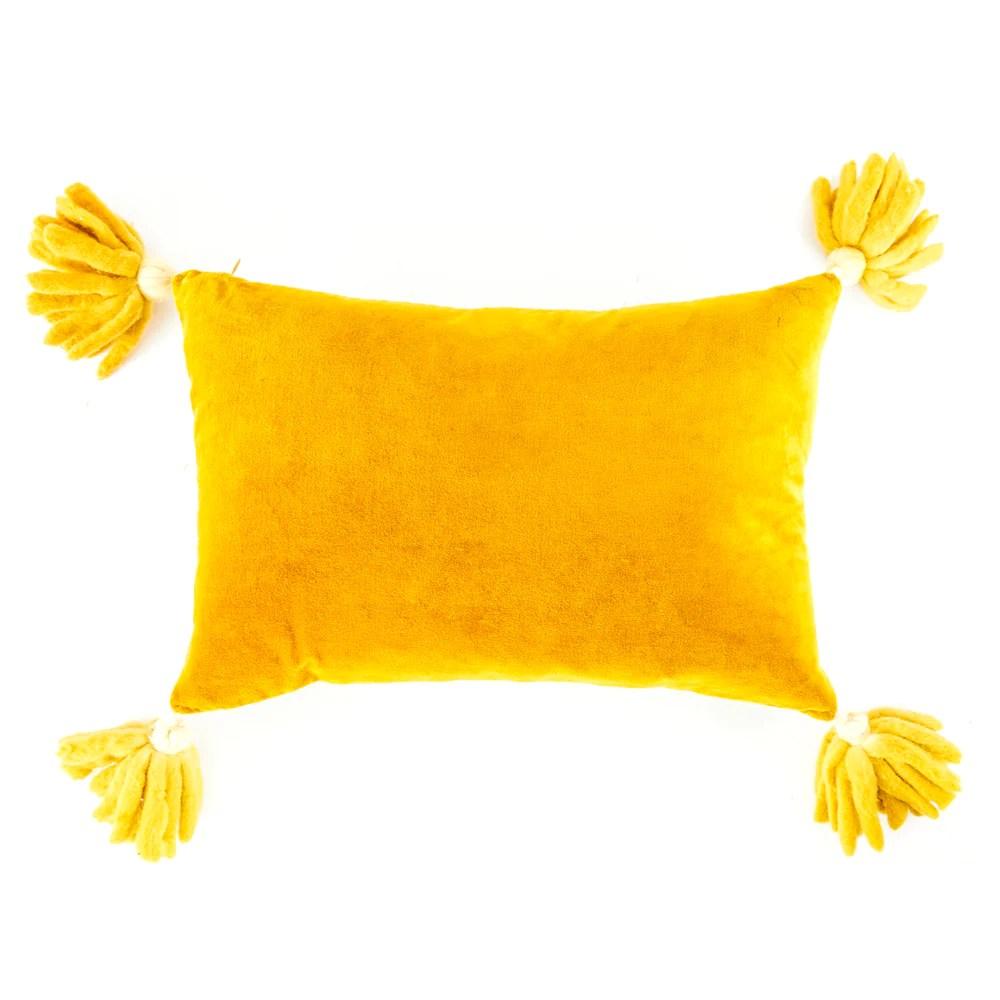 mustard velvet tassel lumbar pillow