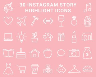 pink instagram highlight icons highlights blush pastel story shopify