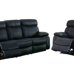 Double Recliner Chairs Wheelchair Photo Homelegance Pendu 2pc Reclining Sofa Chair The In Black Leather