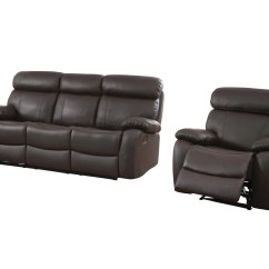 Double Recliner Chairs Target Bungee Dorm Chair Homelegance Pendu 2pc Reclining Sofa In Brown Leather