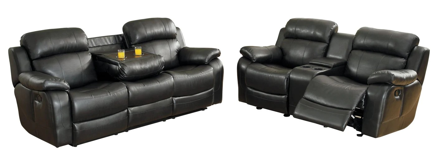 black reclining sofa with console bed studio flat homelegance marille 2pc double center drop down marille2pc set love seat in leather