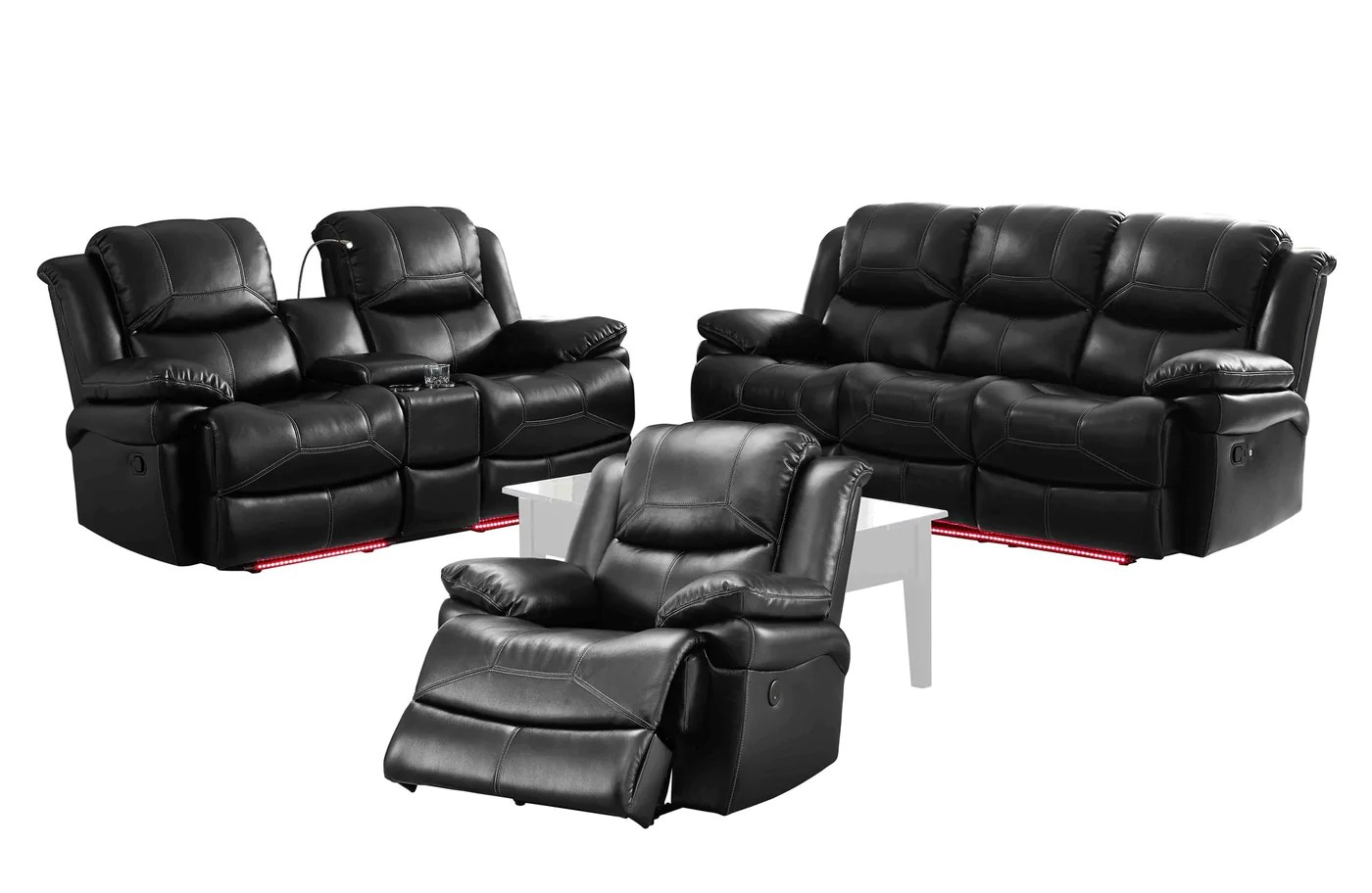 black reclining sofa with console two seat bed cover new classic flynn 3pc dual recliner love loveseat glider in fabric premier