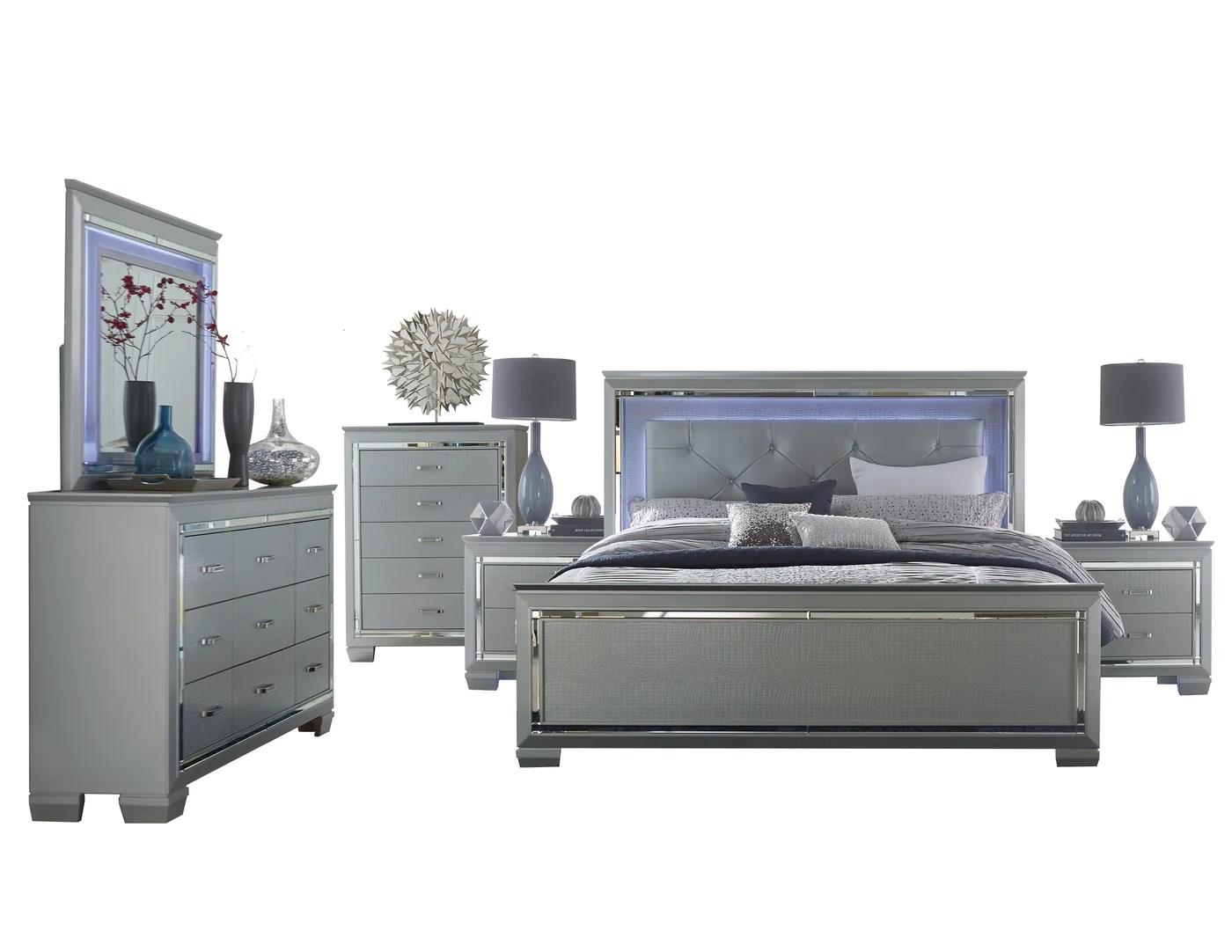 almada 6pc bedroom set full led bed dresser mirror 2 nightstand chest in silver alligator embossed