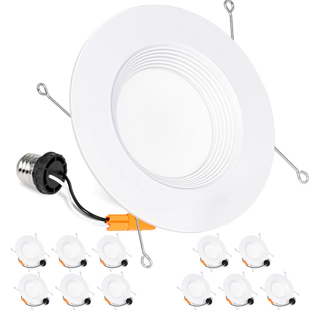 5 6 in dimmable led recessed lights retrofit can light 15w 1100lm 3000k cri90 12 pack