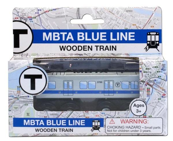 MBTA Blue Line Wooden Toy Train  MBTAgifts by WardMaps LLC