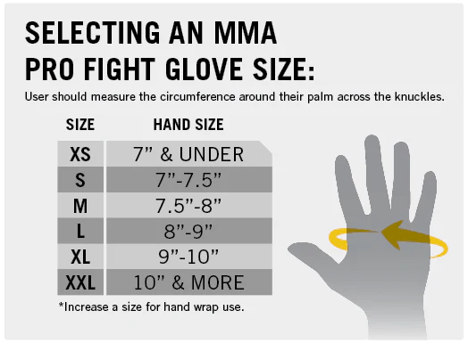 Selecting an mma pro fight glove also size charts  everlast canada rh