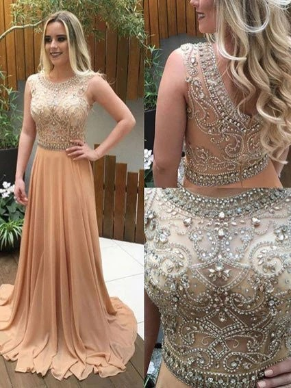 See Through Prom DressChampagne Evening DressLong Formal