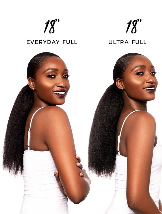 Kinky Straight Blow Out Drawstring Ponytail Heat Free Hair