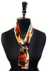Velvet crosshatch skinny scarf/tie - red jewels ...