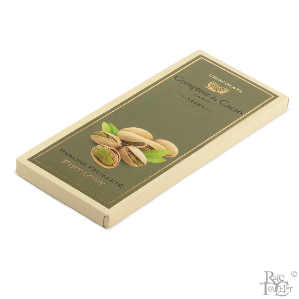comptoir de cacao pistachio praline chocolate bar