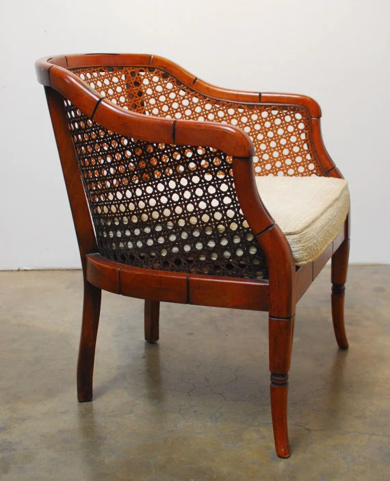 mid century cane barrel chair ergonomic with ottoman modern bamboo erin lane estate