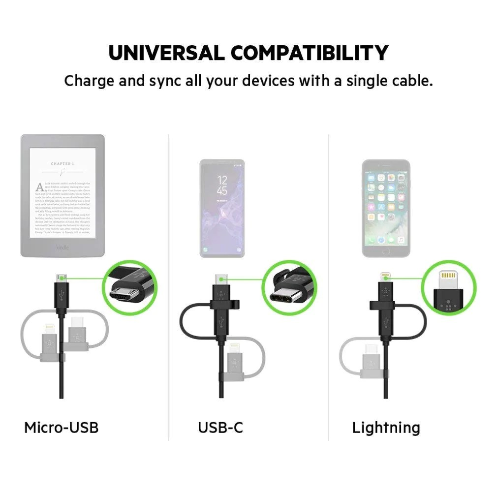shop australia stock belkin universal cable with micro usb usb c and lightning  [ 1010 x 1010 Pixel ]