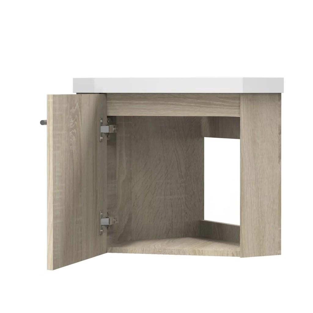 meuble de salle de bain meuble de rangement suspendu meuble sous vasque d angle blanc ou bois clair 40 cm