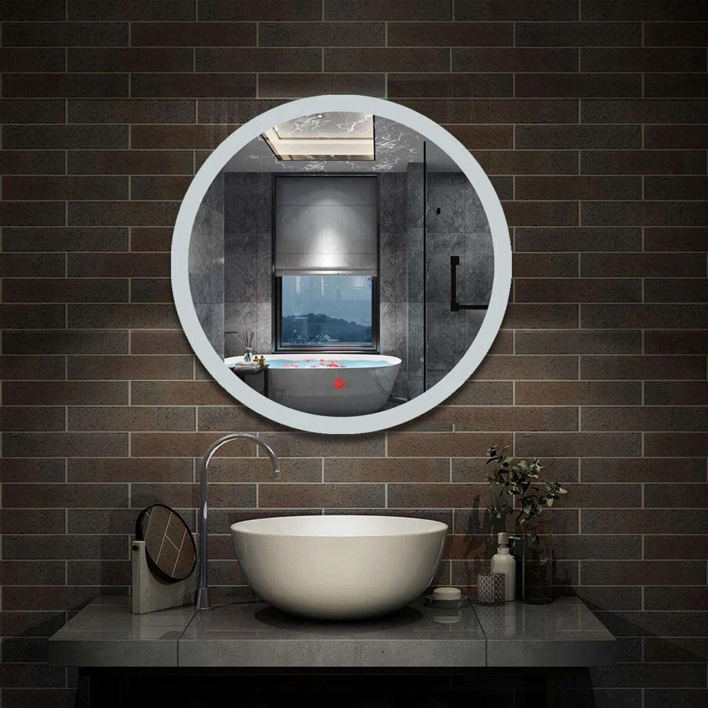 Aica Miroir De Salle Bain Rond Avec Anti Buee Lumiere Blanc Du Jour 6000k O 60 70 80 Cm Aica Sanitaire