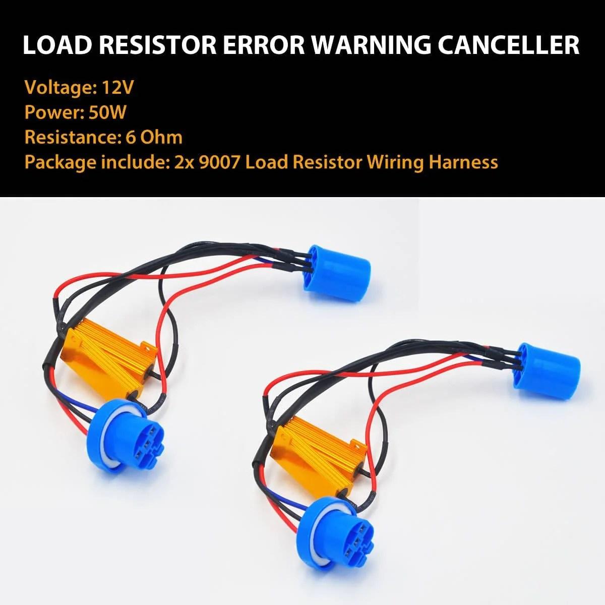 hight resolution of 9007 9004 led headlight load resistor harness anti flicker warning canceler