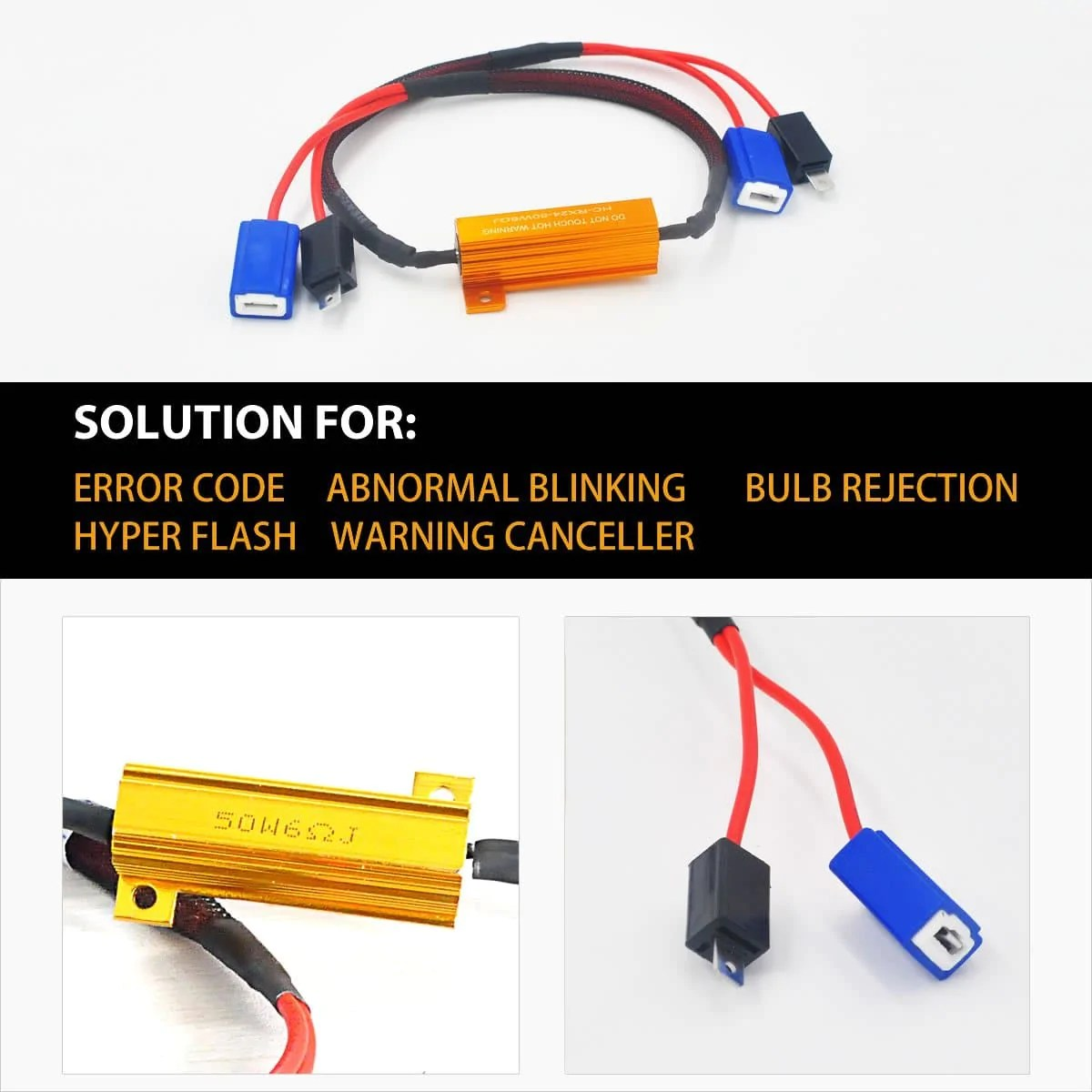 h1 h3 led headlight load resistor harness fog light anti flicker error free [ 1200 x 1200 Pixel ]