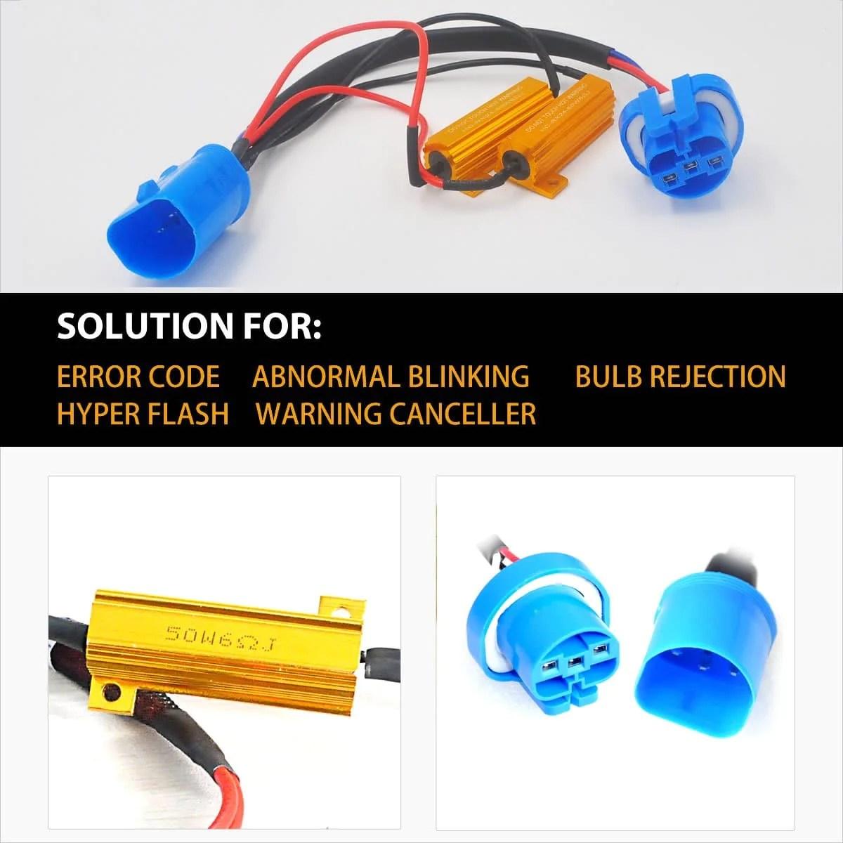 small resolution of 9007 9004 led headlight load resistor harness anti flicker warning canceler