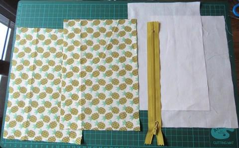 Coupons de tissu Motif ananas et fermeture à glissière