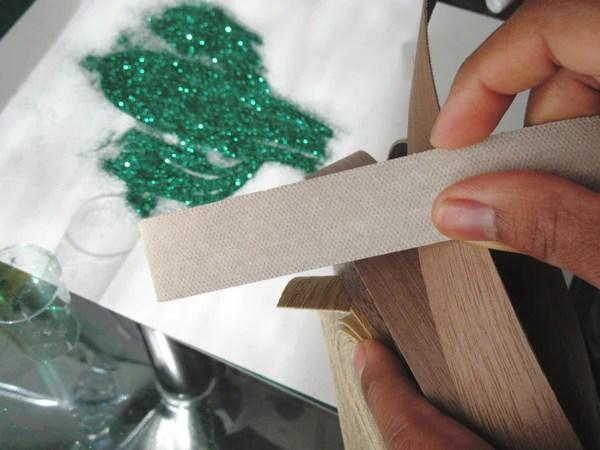 Rouleau de placage de bois thermocollant (face encollée)
