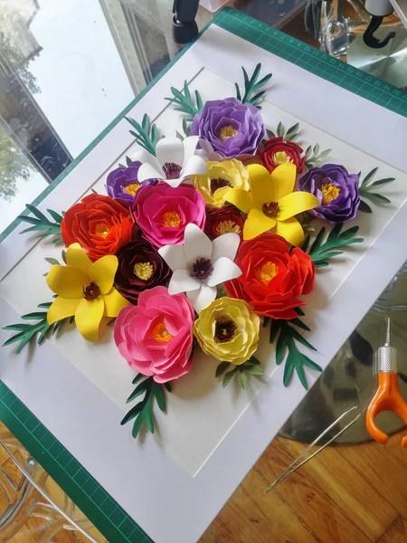 DIY Compostion florale de fleurs en papier