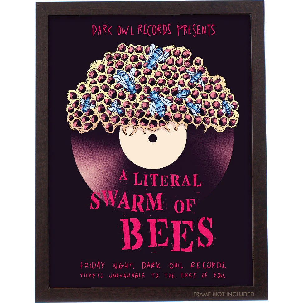 hight resolution of a literal swarm of bees poster 18x24