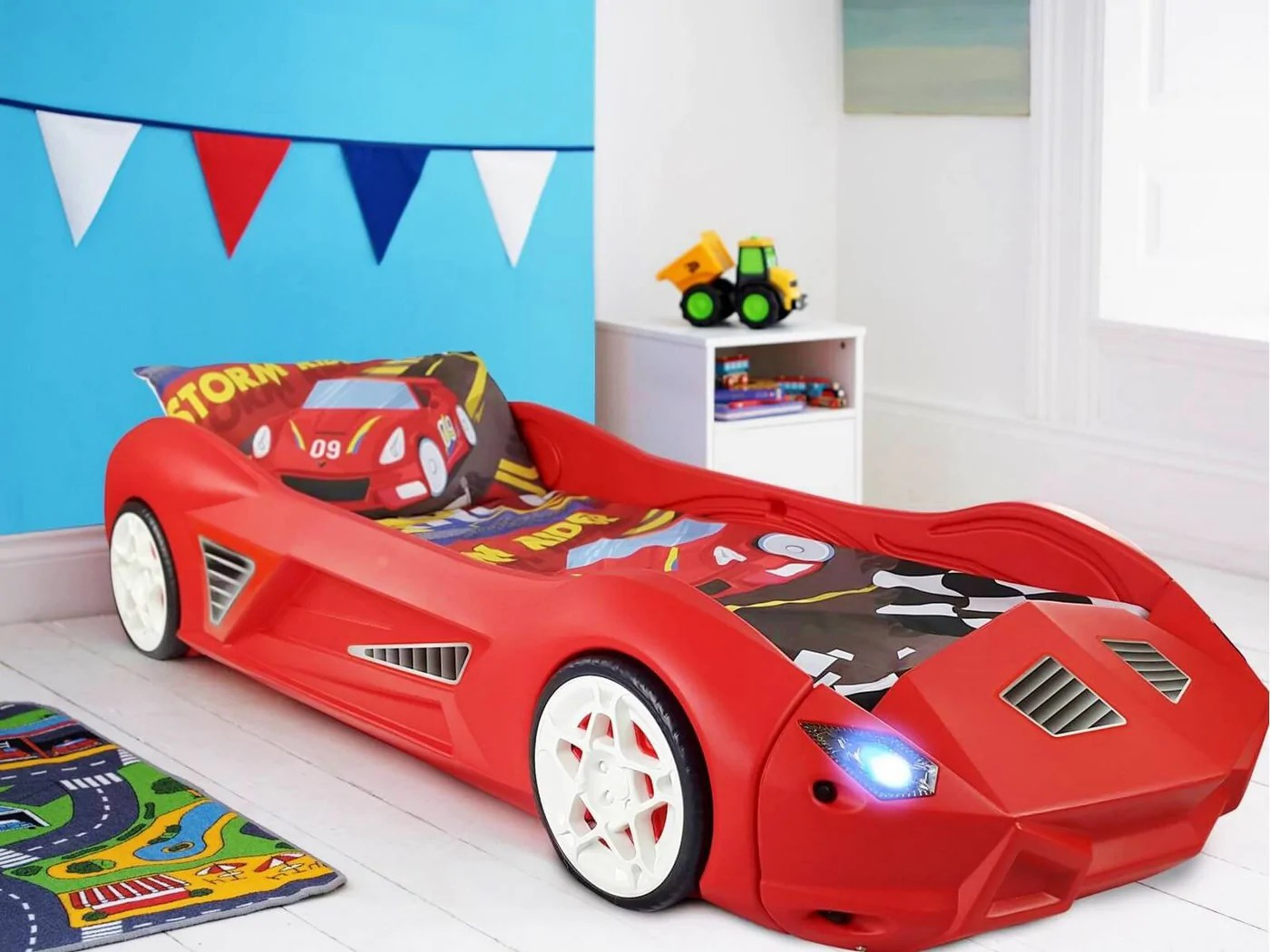 Storm Kids Toddler Racing Car Bed With Lights And Sounds Toyz World