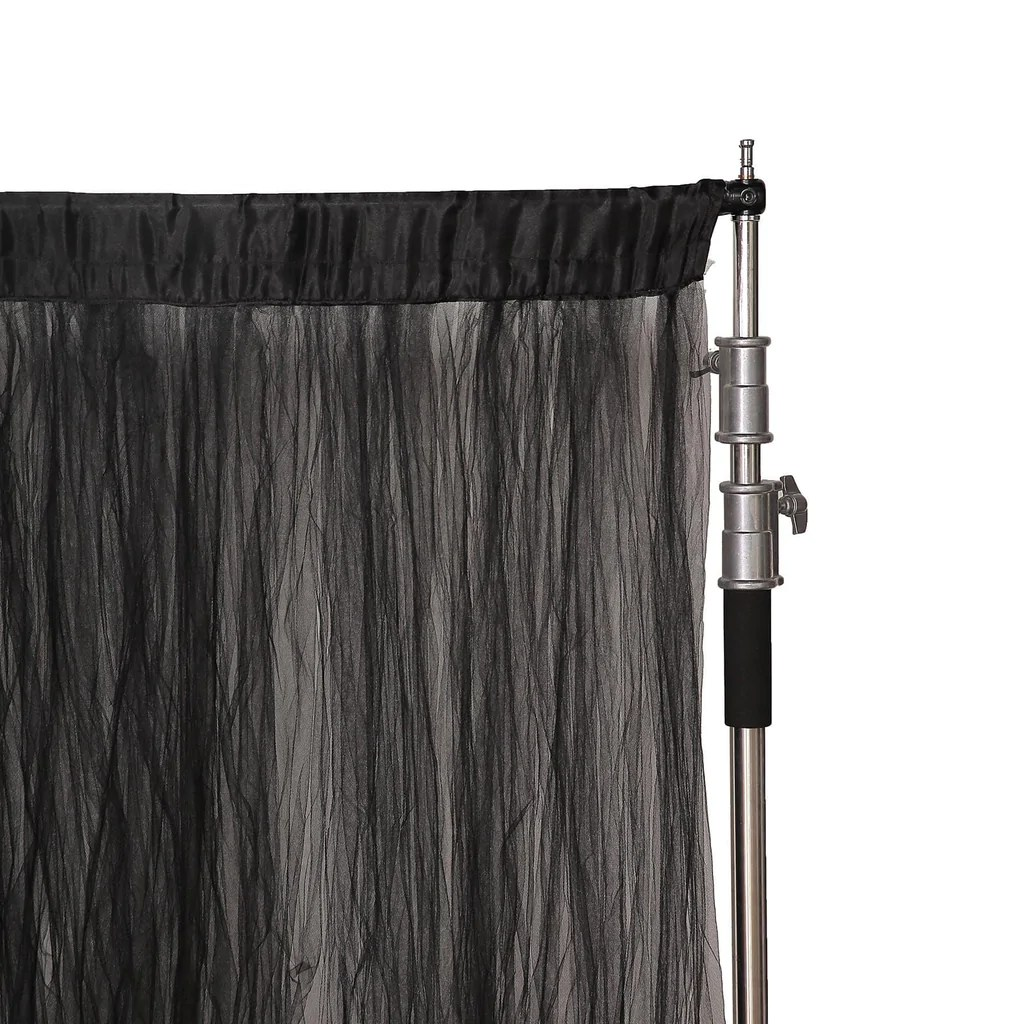 5ft x 10ft double sided tulle backdrop sheer curtain panels with satin rod pockets black