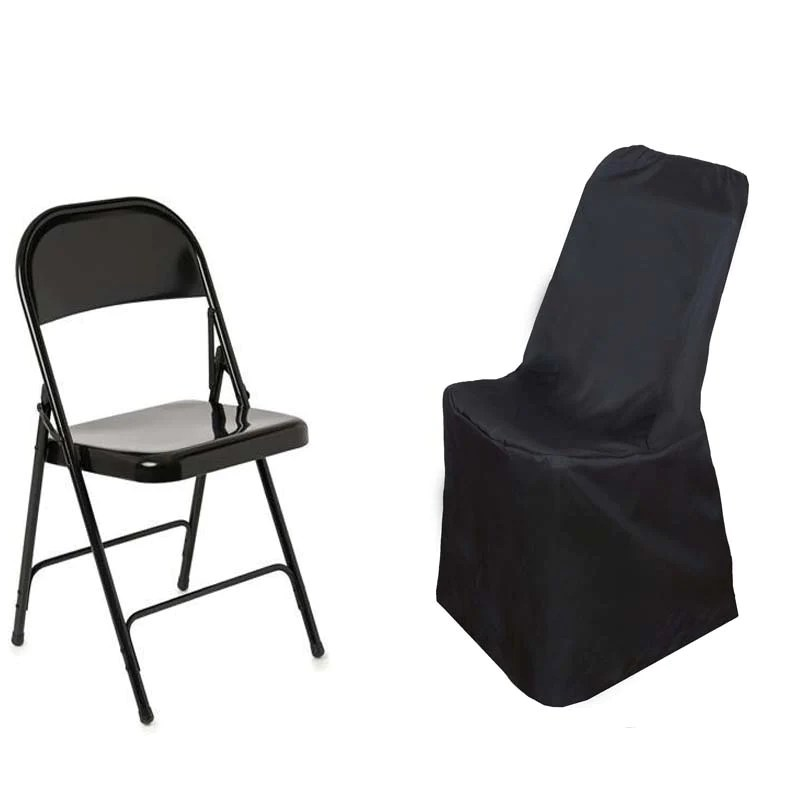 black lifetime chair covers rural king folding chairs polyester tablecloths factory fits over style cover