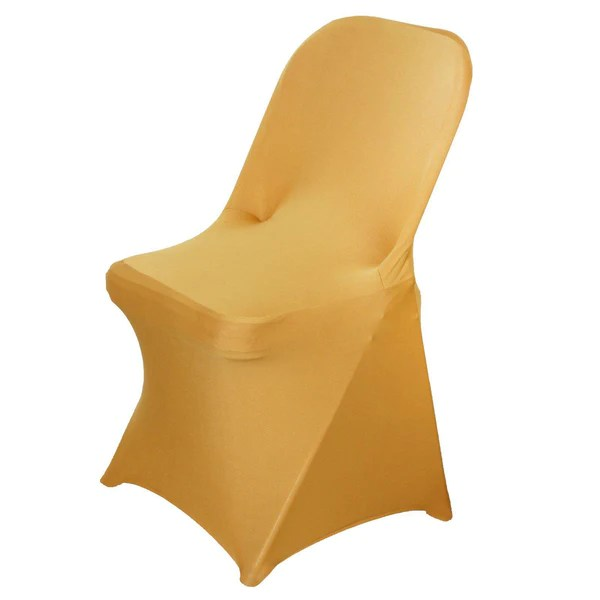 gold chair covers to rent large cushions tableclothsfactory com spandex stretch folding cover