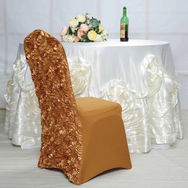 wedding chair covers hire prices office mats tableclothsfactory com gold satin rosette stretch banquet spandex cover